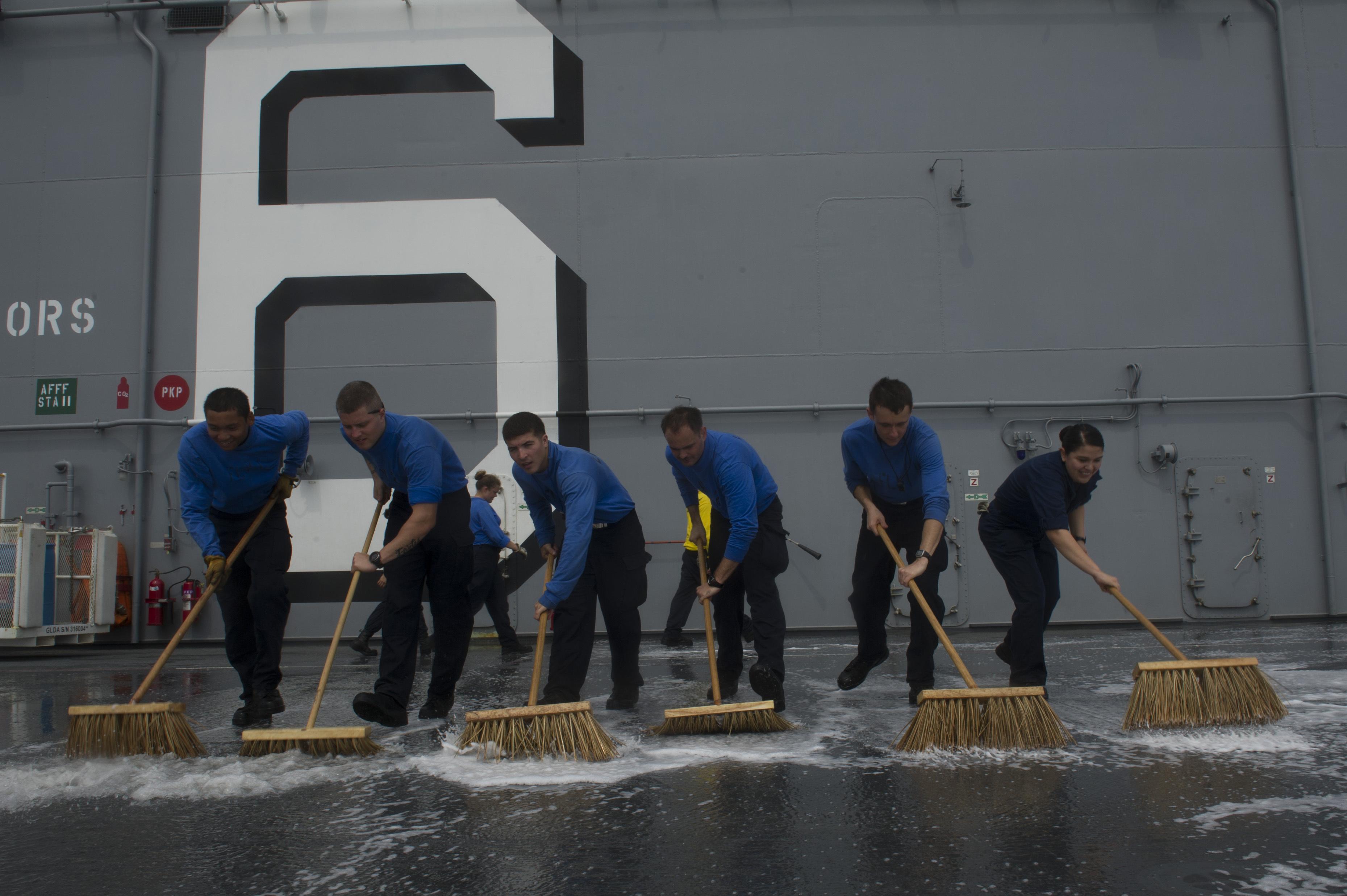 USS America deck scrubbing
